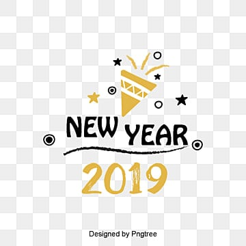 new years english font decorative font design of golden black new year font in 2019, Two Thousand And Nineteen, Coloured Ribbon, New Year PNG and PSD