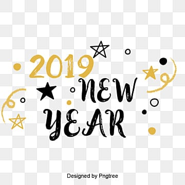 new years english font decorative font design of golden black new year font in 2019, Two Thousand And Nineteen, Decorative Font, Golden PNG and PSD