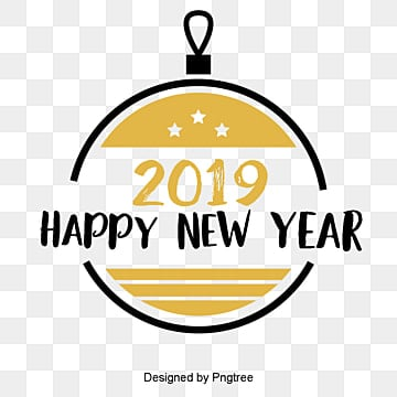new years english font decorative font design of golden black new year font in 2019, Celebrate The Spring Festival, English, Two Thousand And Nineteen PNG and PSD