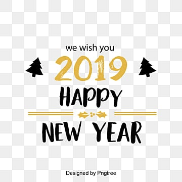 new years english font decorative font design of golden black new year font in 2019, Two Thousand And Nineteen, Christmas, New Year PNG and PSD