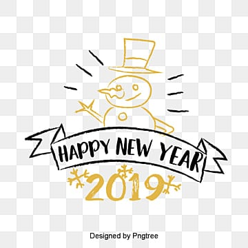new years english font decorative font design of golden black new year font in 2019, Two Thousand And Nineteen, Christmas, Coloured Ribbon PNG and PSD