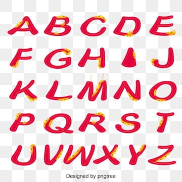 red flame english alphabet Fonts
