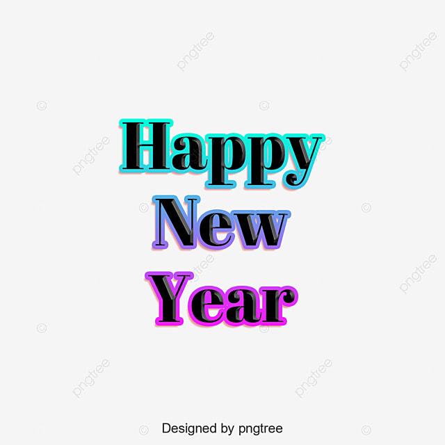 Happy New Year الإنجليزية كلمة فن تدرج اللون من العناصر تأثير النص Psdلتنزيل مجاني