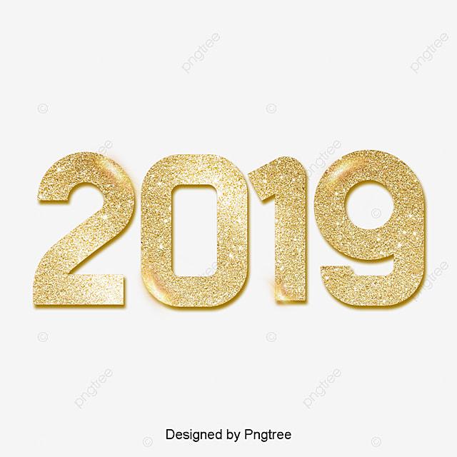 2019 Font: Golden 2019 Digital Pig Year Gleaming Luxury Gold Powder