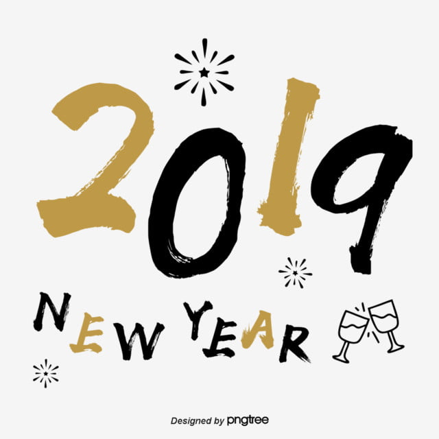 Black Gold New Years Label Handwritten Style For 2019 Text ...