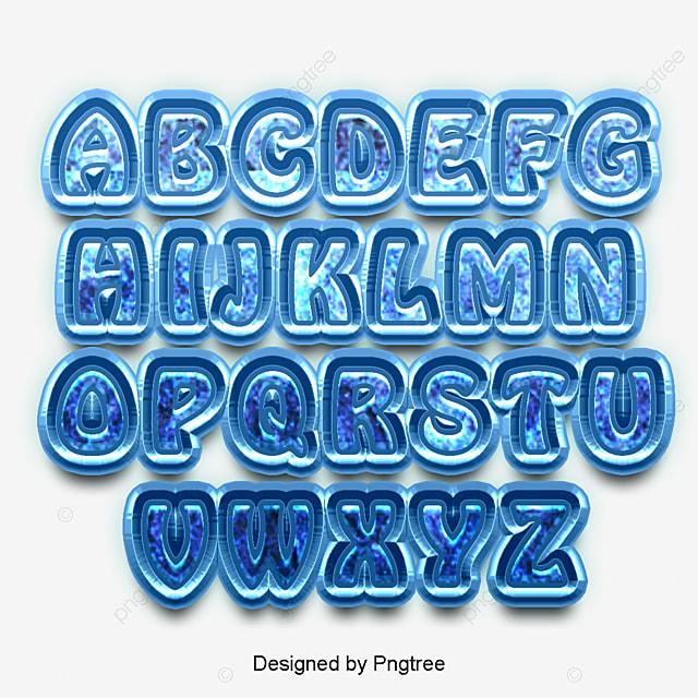 24個の英字表の集合フォントの字形の書道のポスターの青氷のしずく3 D ...