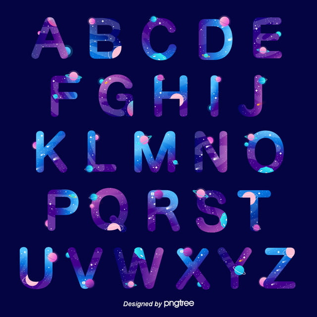 english alphabet of cosmic galaxies and stars art font for