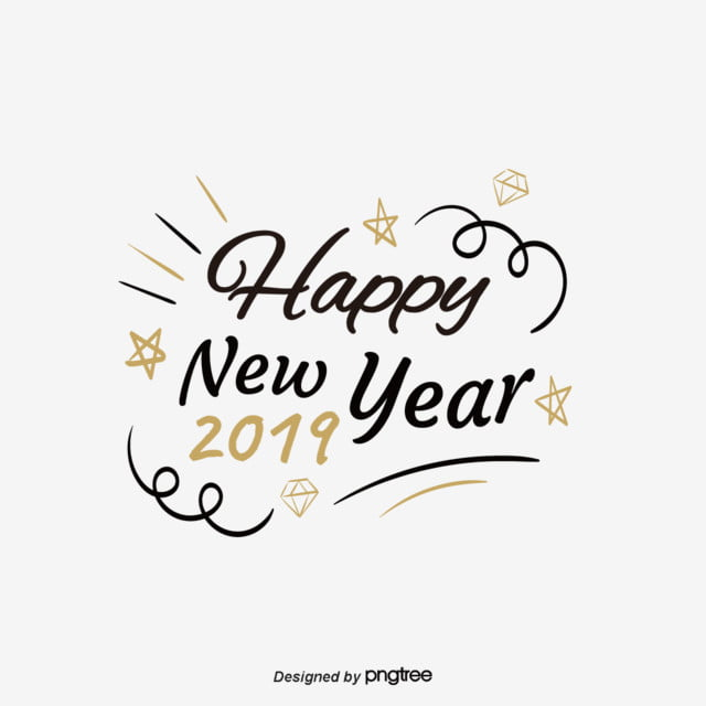 Happy New Year In 2019 Art Font For Free Download