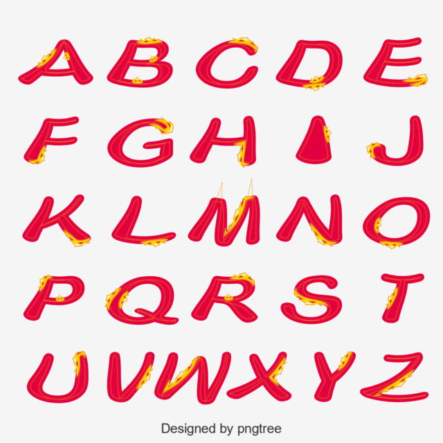 Red Flame English Alphabet Art Font For Free Download