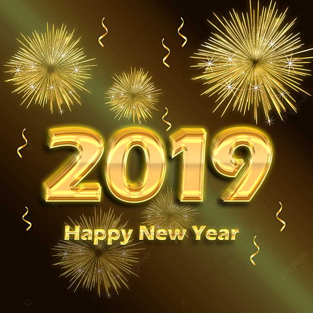 gold 2019 happy new year Art Font For Free Download