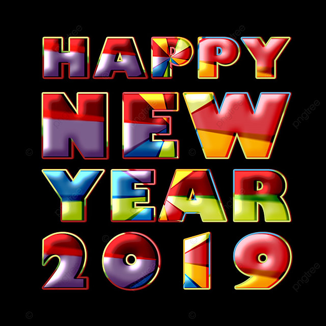 Happy New Year 2019 new Modern Fonts Effect Art Font For Free Download