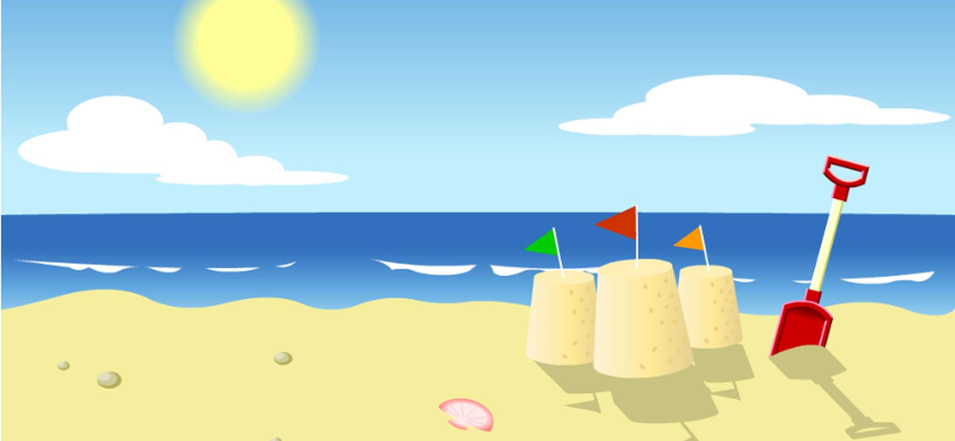 banni u00e8re de dessin du soleil sur la plage de fond dessin