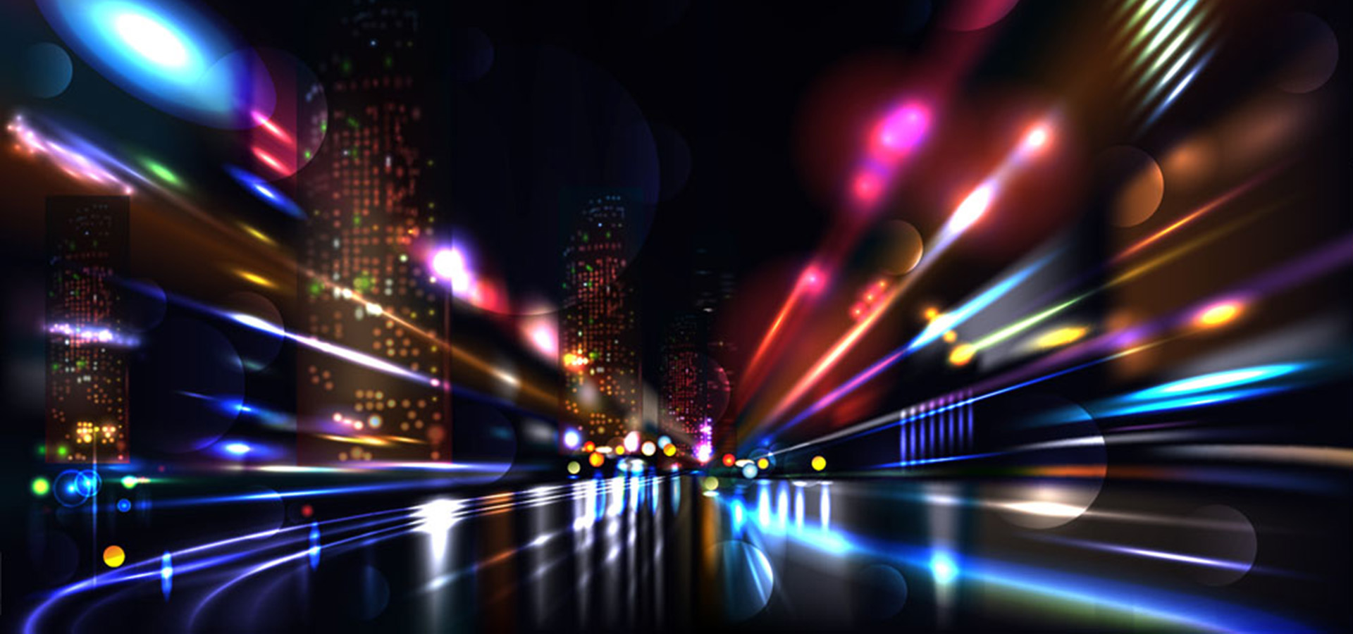 3d Light Effects Ppt Background: Colorful City Background Light Effect, Colorful, City