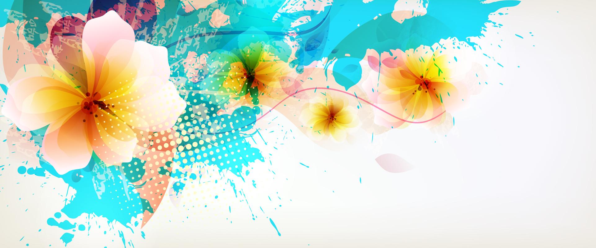 Beautiful Floral Banner Background Color Splash, Plumeria
