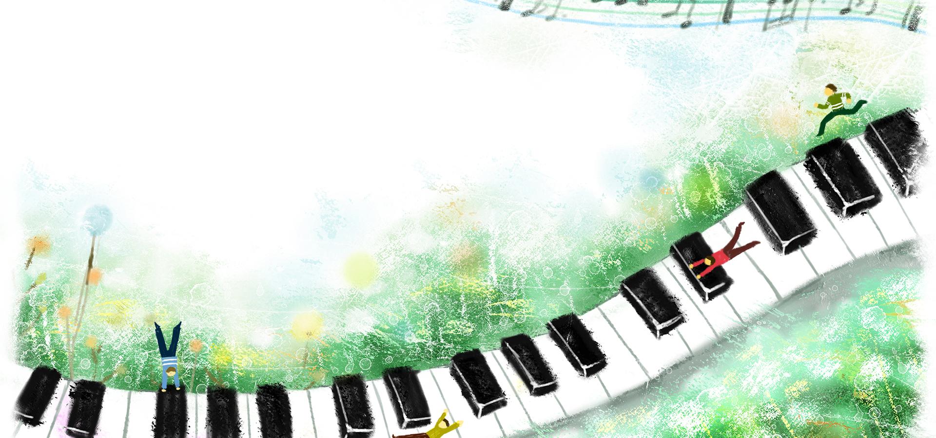 Pintado a mano de ilustración de fondo de teclado de piano Teclado ...