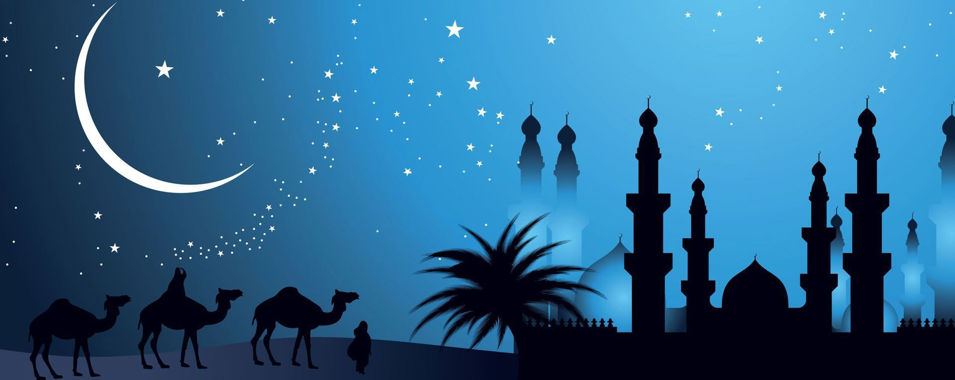 handpainted flat night  night view  camel  moon background image for free download