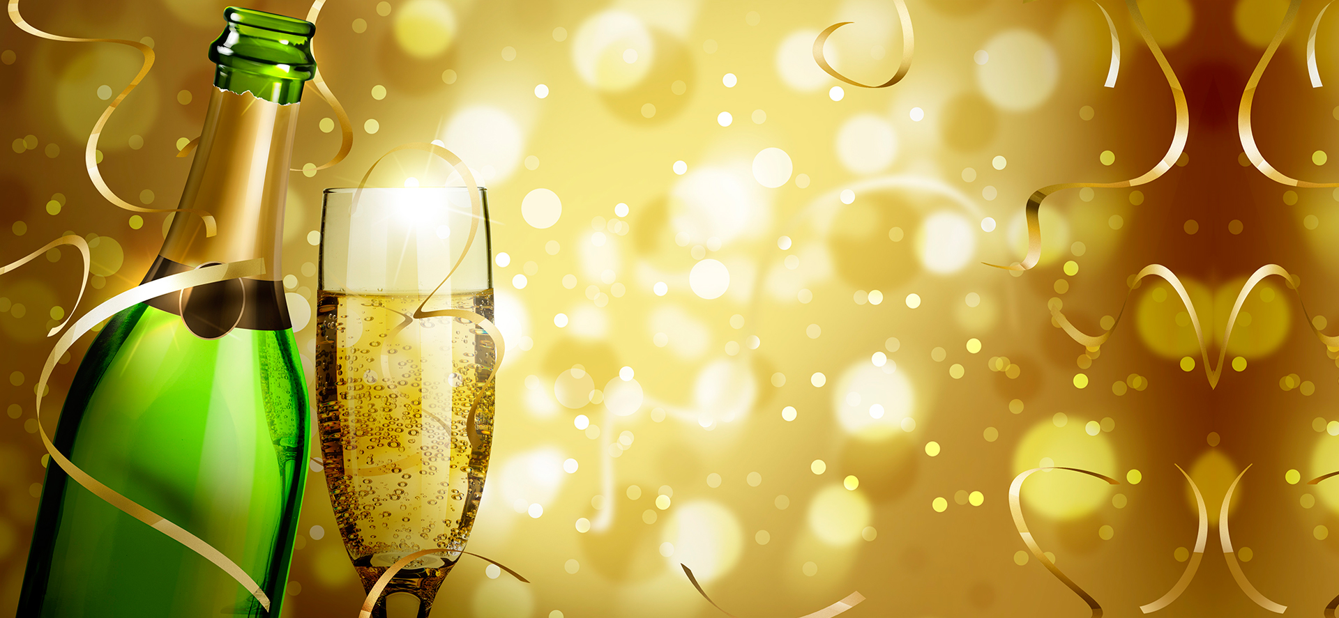 christmas carnival champagne glow golden beer background
