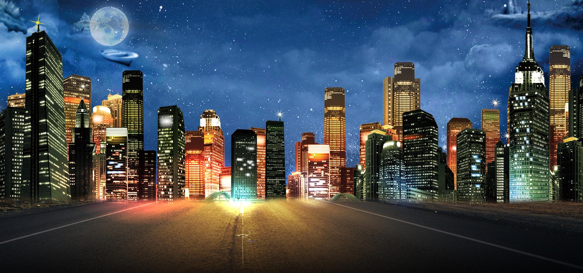 Fondos De Pantalla Ciudad: Banner Background City Night 1920x900, Graphic, Elements