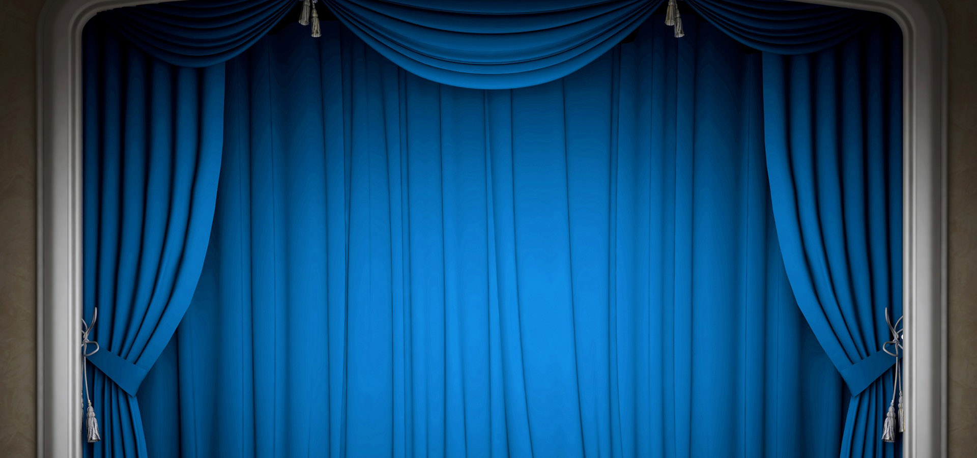 Blue Curtain Stage Background Curtain Drapes Poster