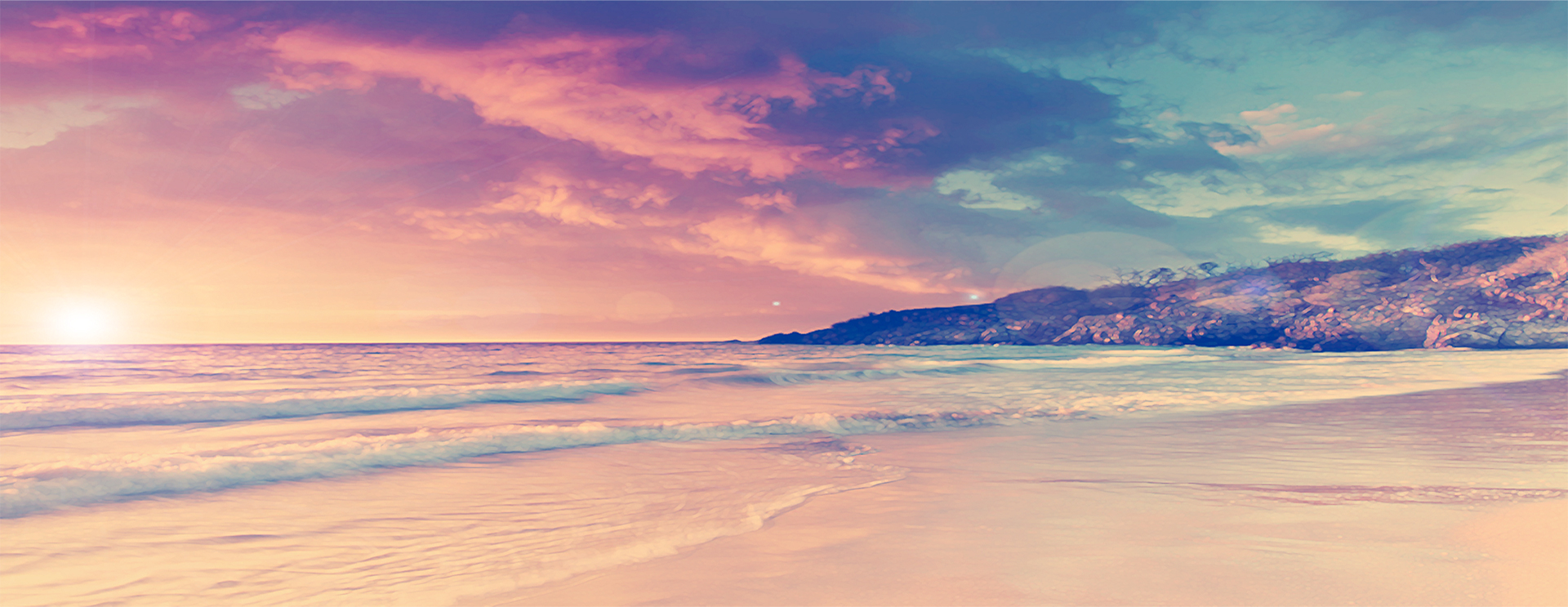 Romantic Sunset Beach Background, Poster, Banner, Romantic