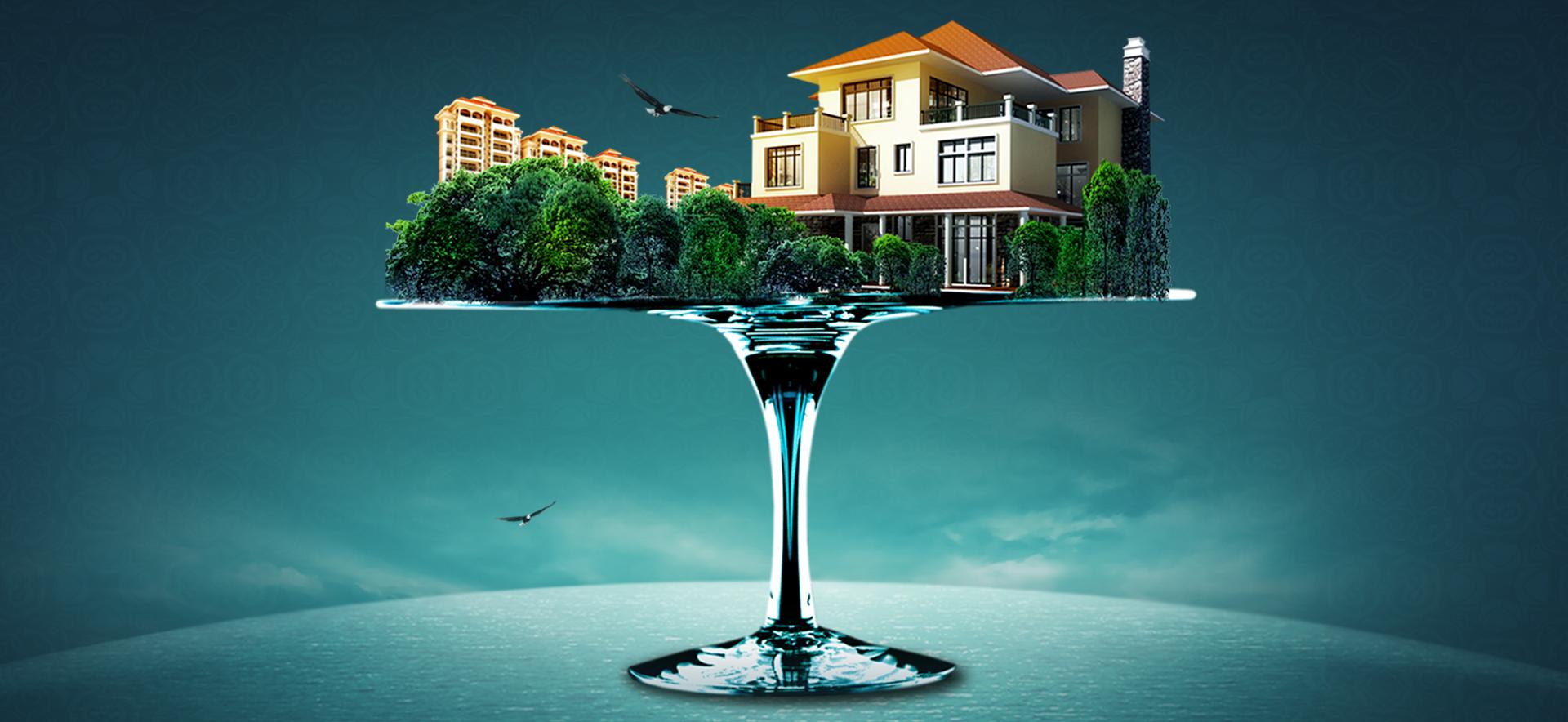 villa real estate advertisement psd image  dm  leaflets  villa background image for free download