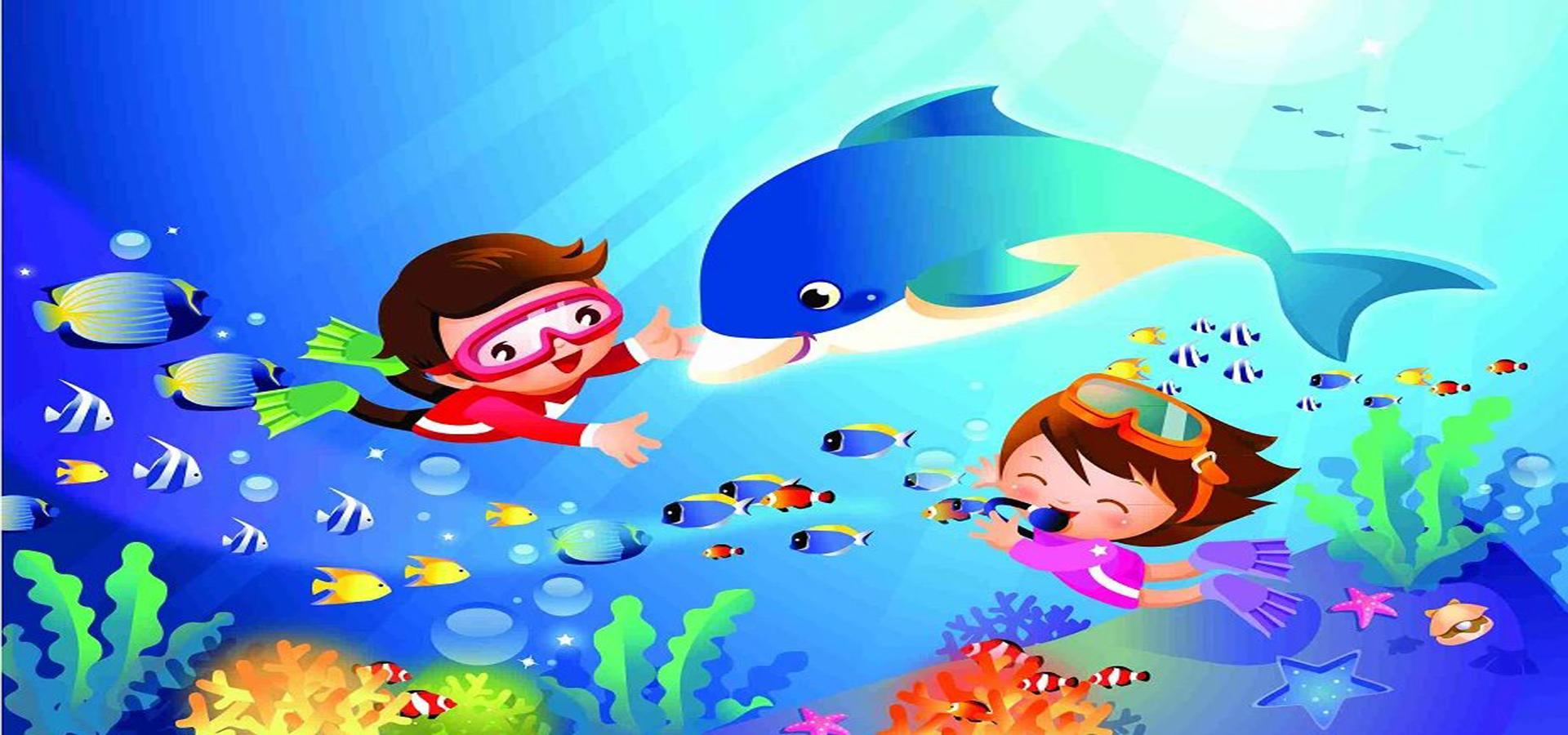Nel cartone il mondo sottomarino i cartoni animati