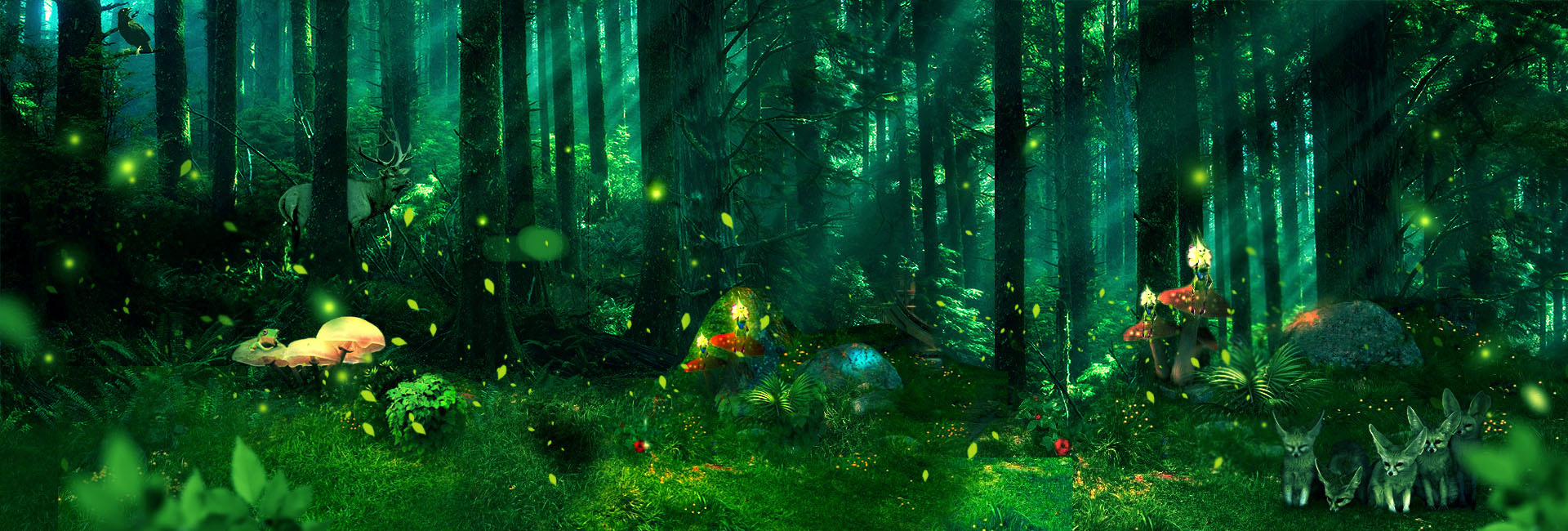 Fantasy Forest Green Background Dream Green Forest