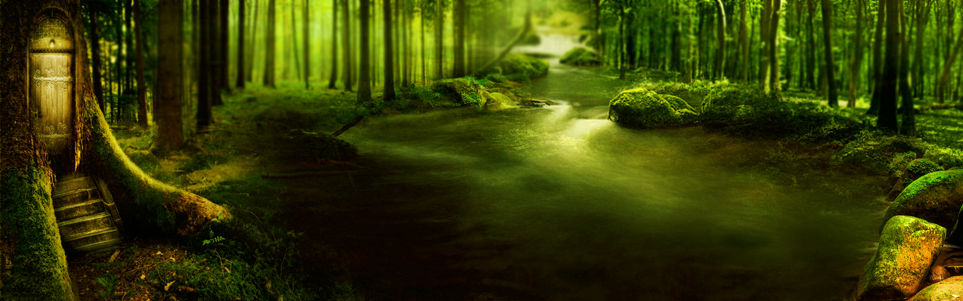 science fiction fantasy forest green background  dream