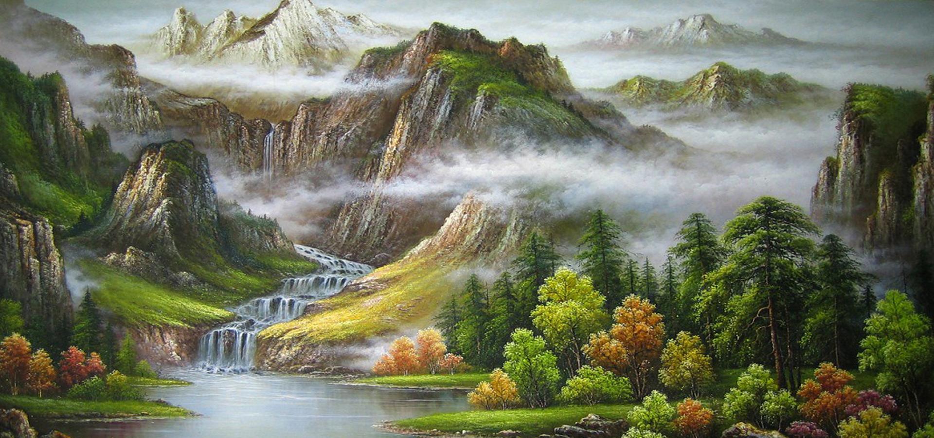 la peinture de paysage de l huile montagne de l eau image