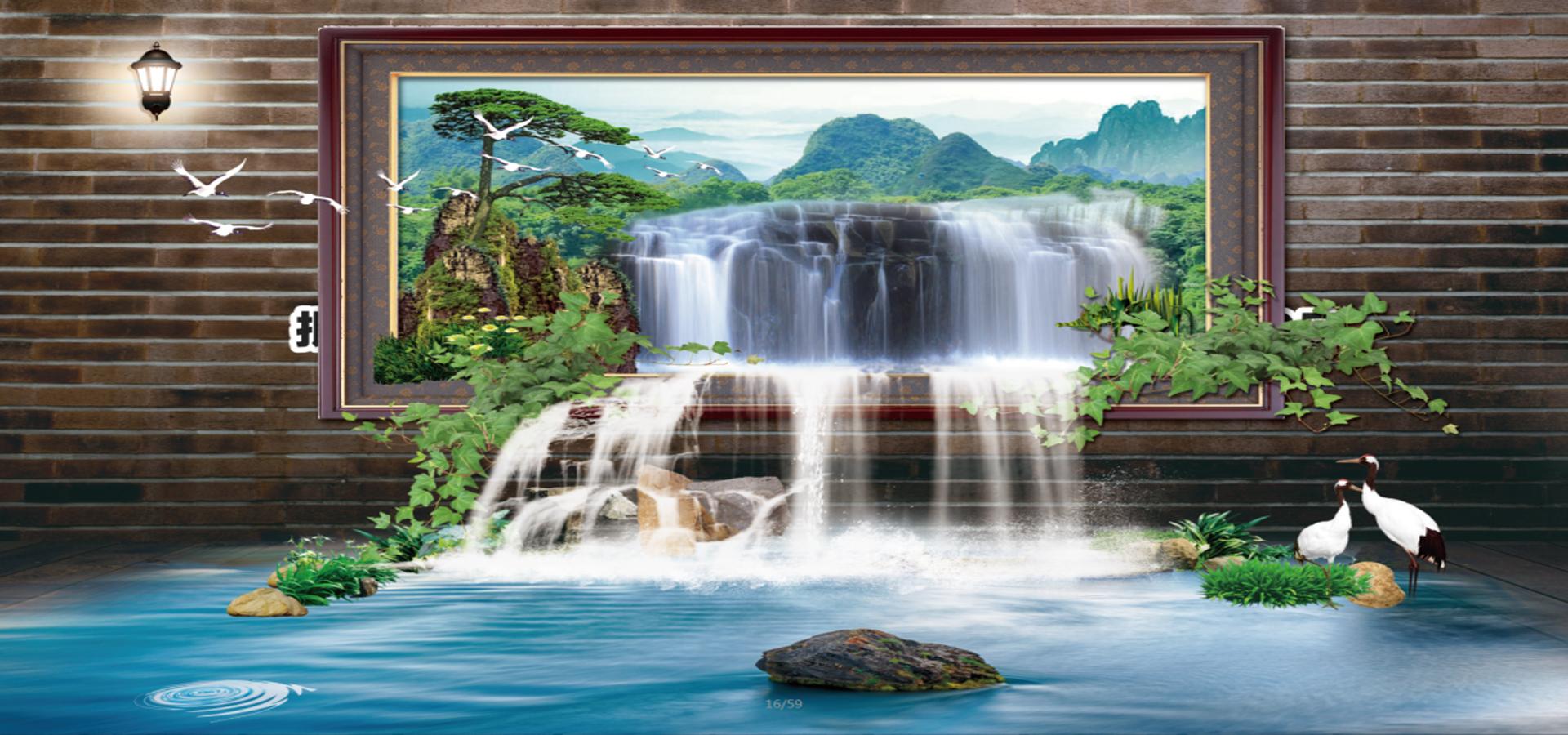 fonte cachoeira paisagem background parede paisagem pine imagem de plano de fundo para download