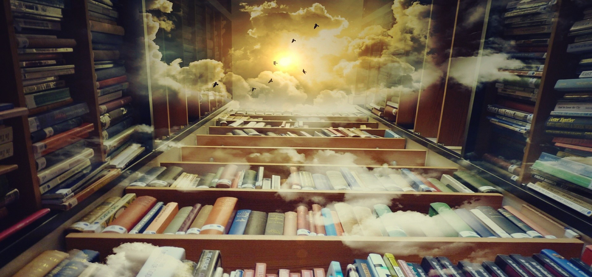 Fantasy Books Background Dream Bookshelf Clouds