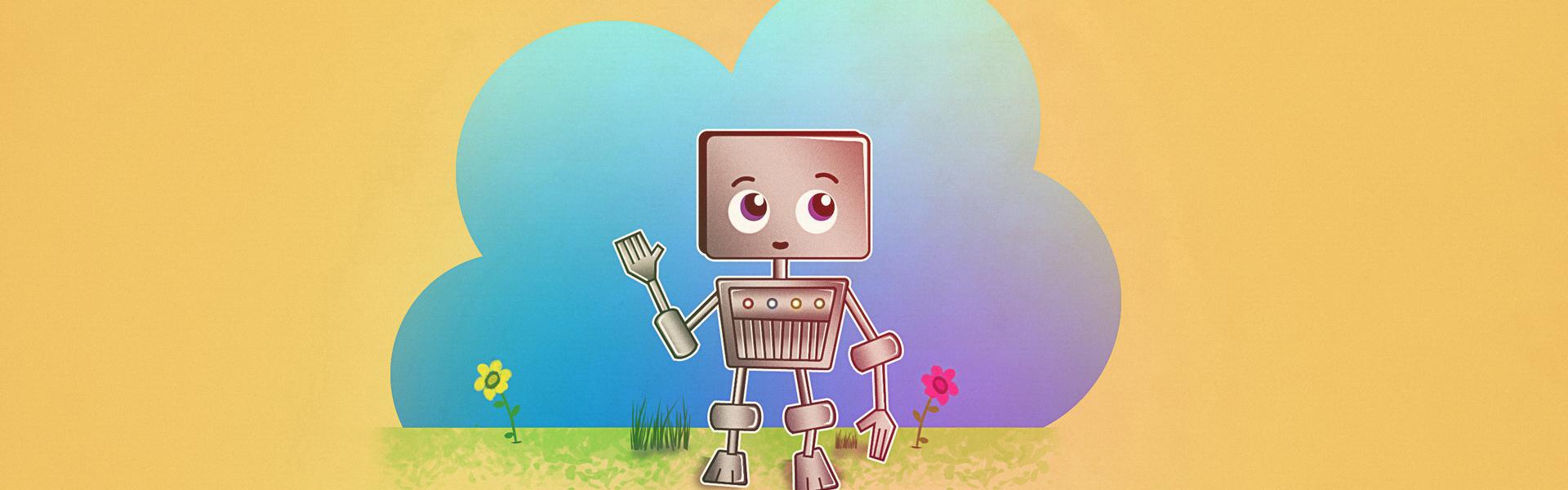 Robot di cartone a sfondo giallo i cartoni animati robot il