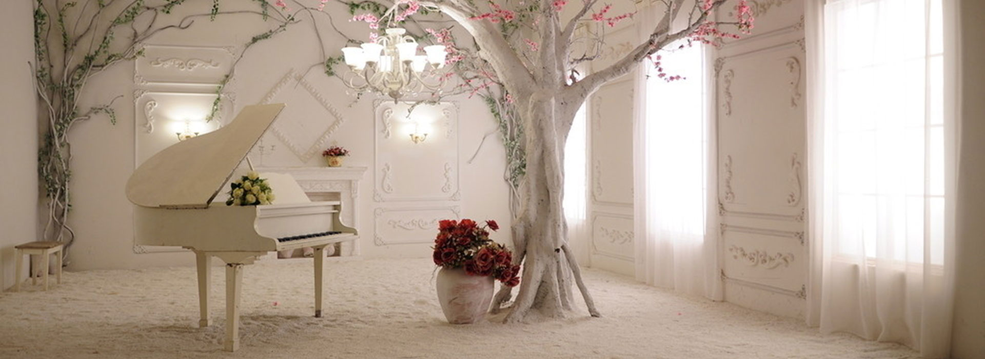 continental romantic aesthetic background  piano  window