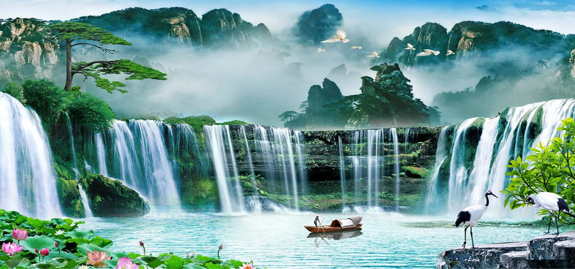 Pinturas de paisajes hermosa cascada piedra imagen de for Cascadas con piedras