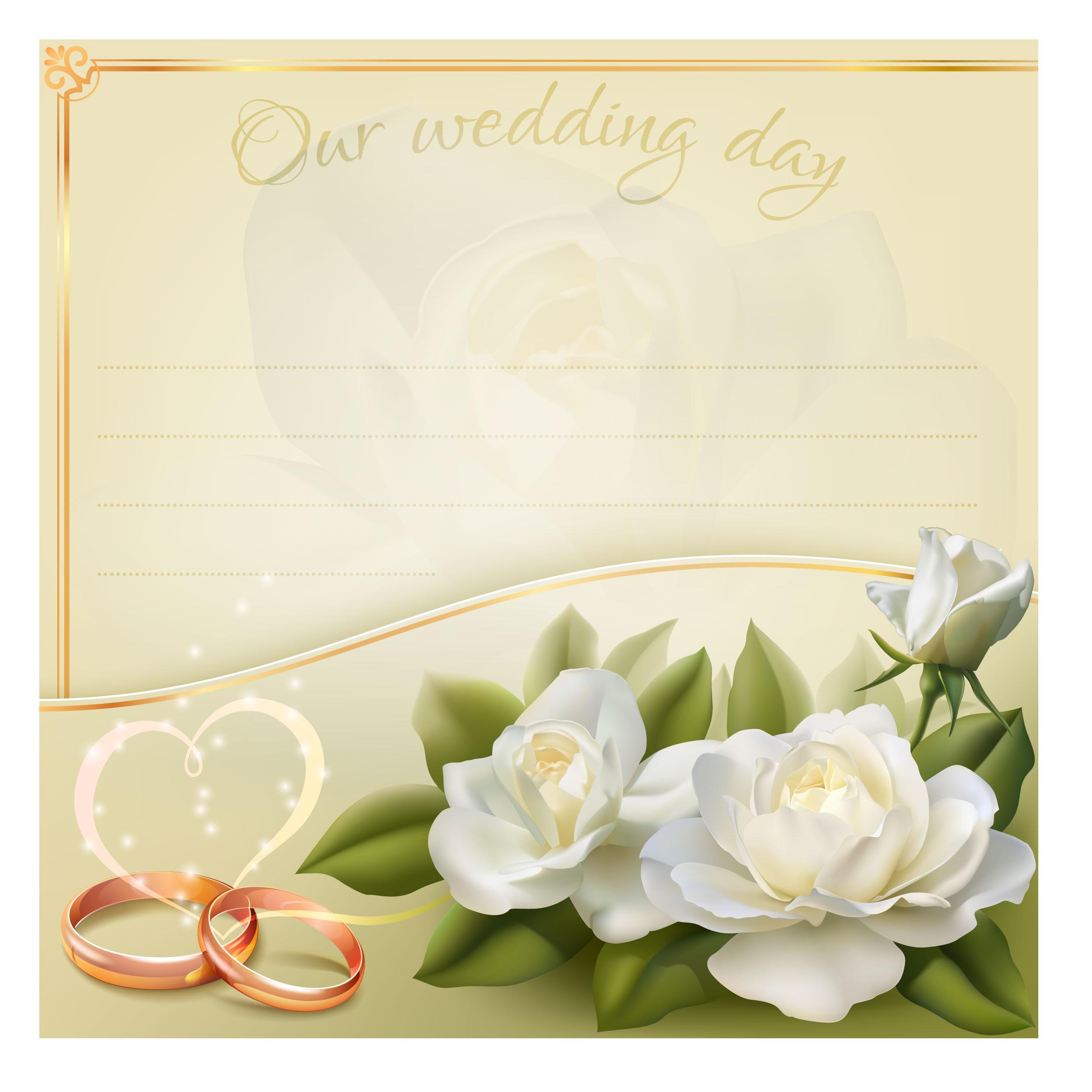 White Flowers Wedding Invitations Wedding Ring, White