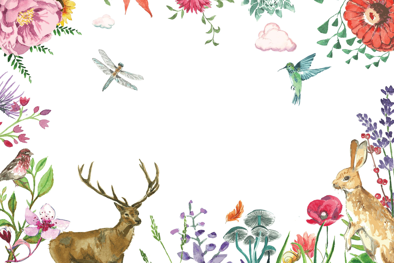aquarelle floral et animaux de fond de la carte  u00e0 la main