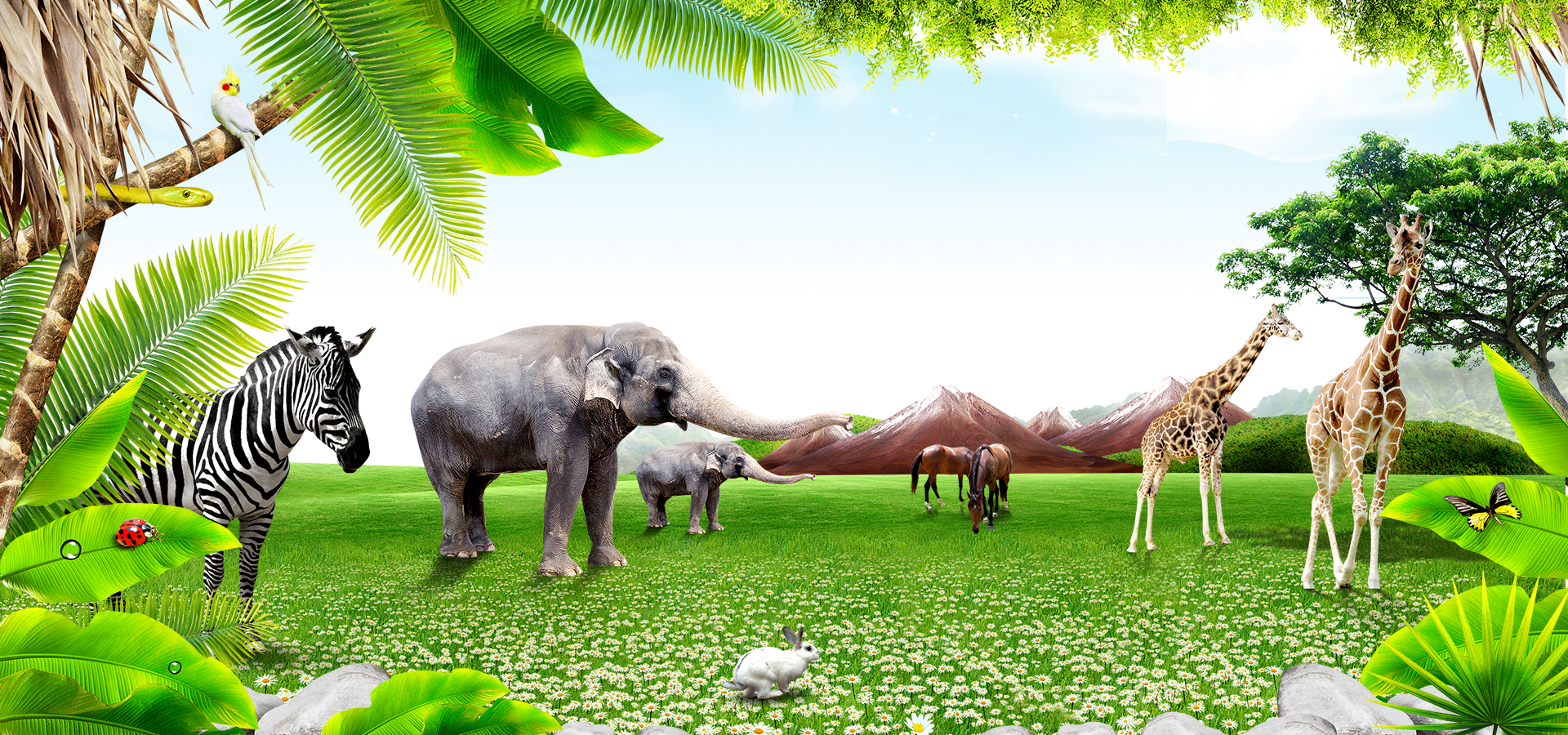 Download Wallpapers Download 2790x2547 Animals Grass: Natural Green Grass Animal Elephant Zebra Horses Trees