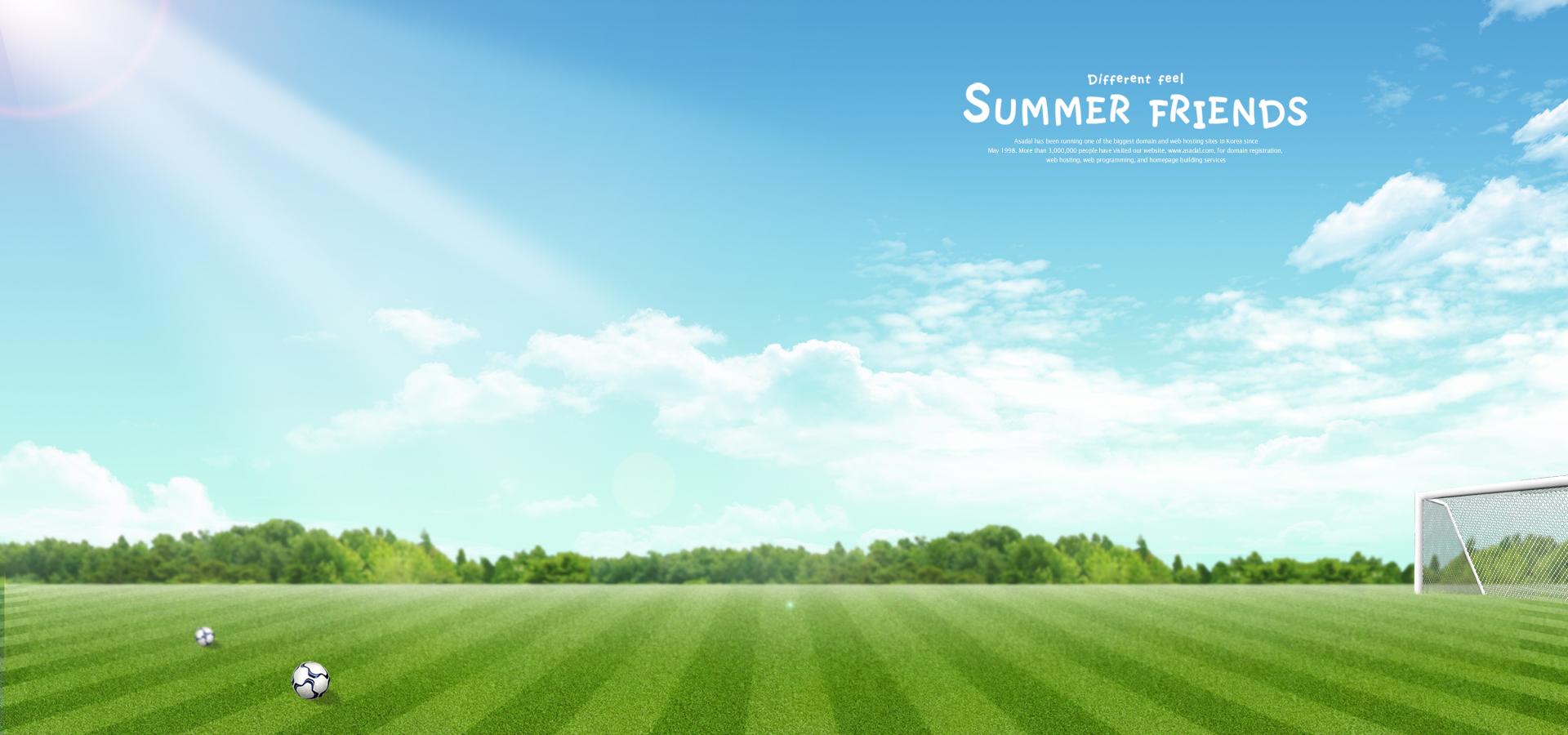 spring background poster soccer field sunlight blue sky