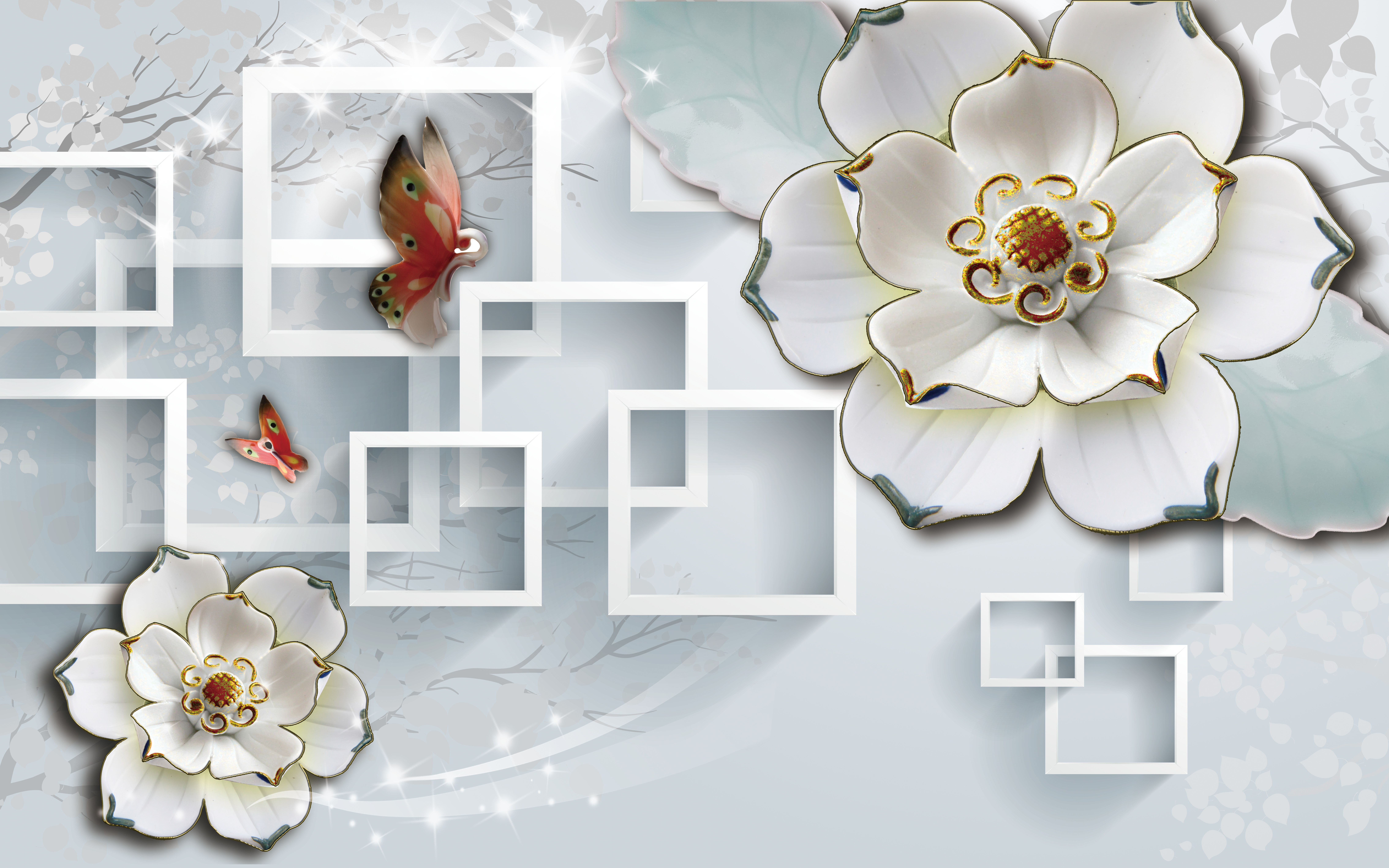 3d floral white contexte 3d les fleurs blanches white
