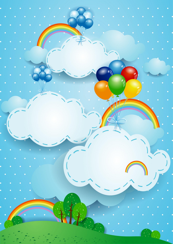 globos de colores nubes colorido globo nubes imagen de fondo para descarga gratuita