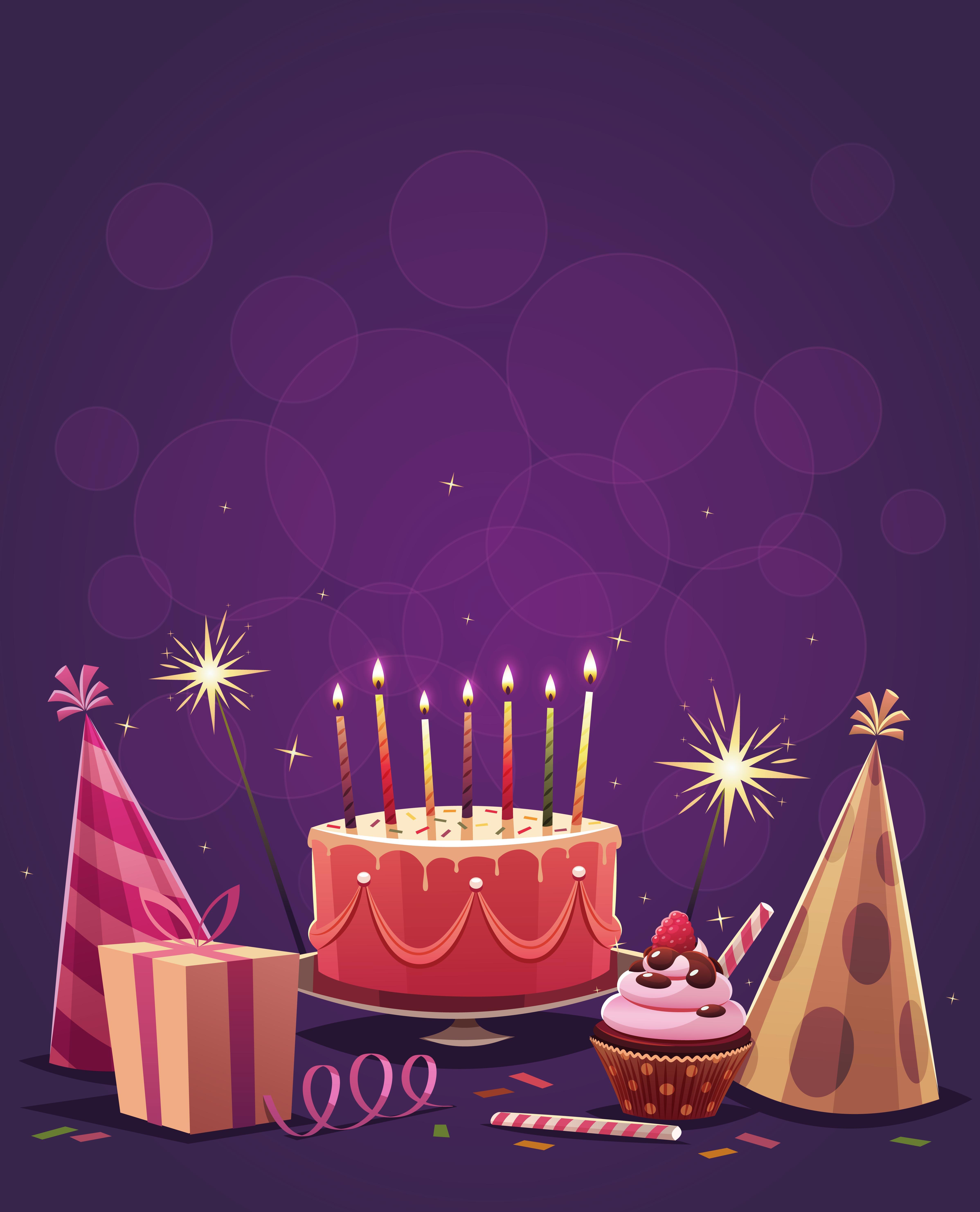 Happy Birthday Purple Background, Purple, Cake, Candle