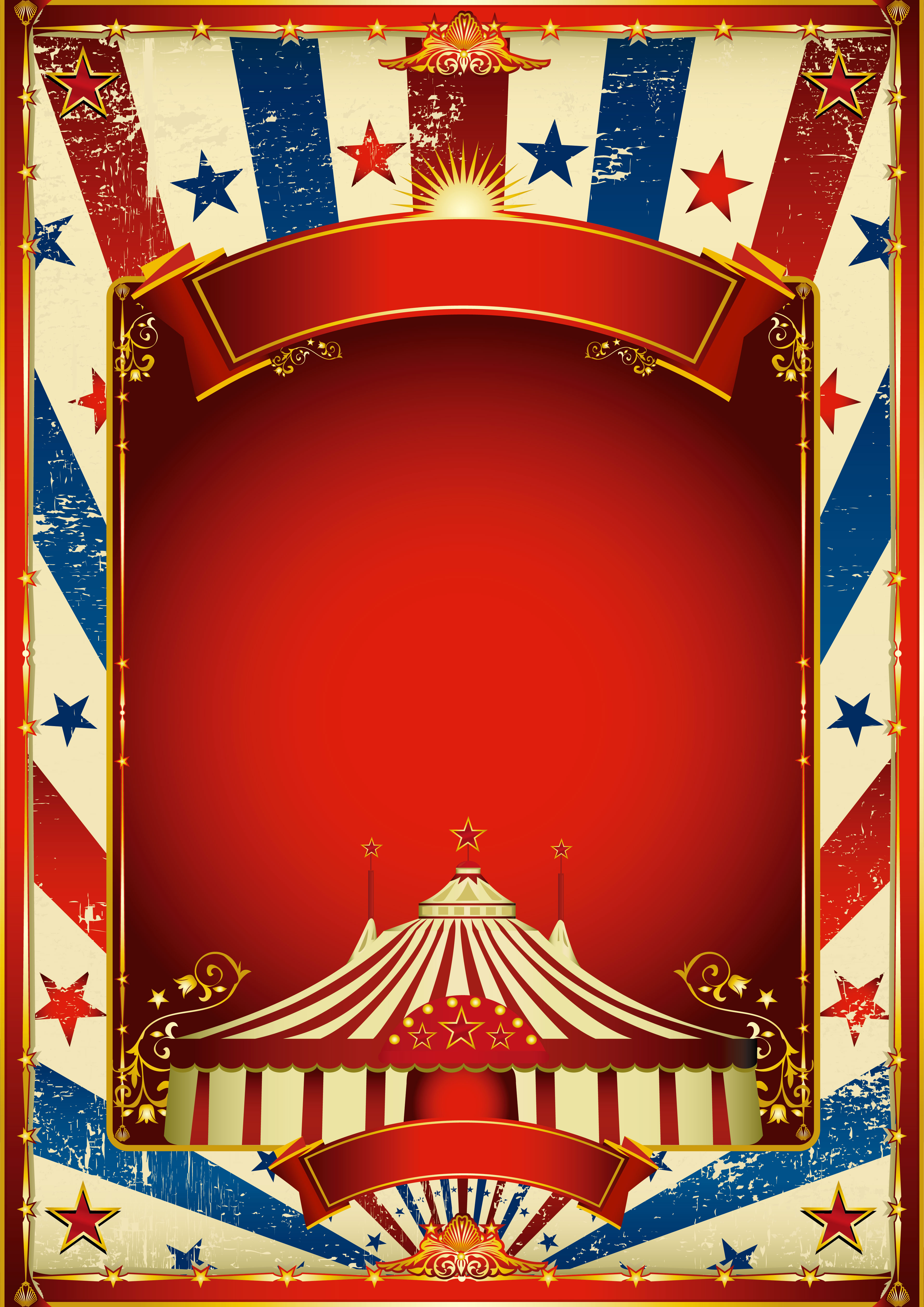 des affiches de cirque  bande rouge et bleu  arri u00e8re plan