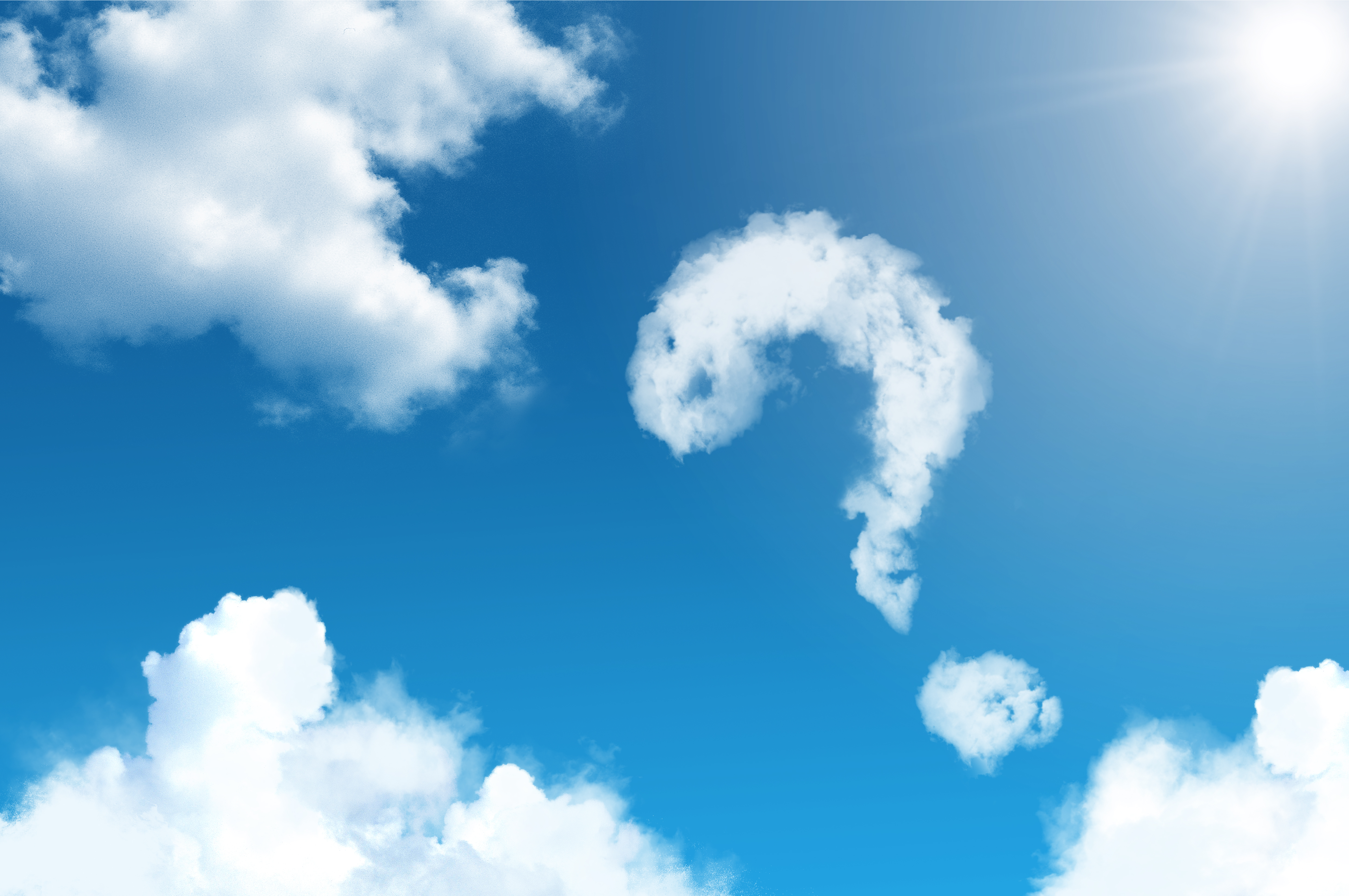 blue sky and white clouds clouds sun question mark