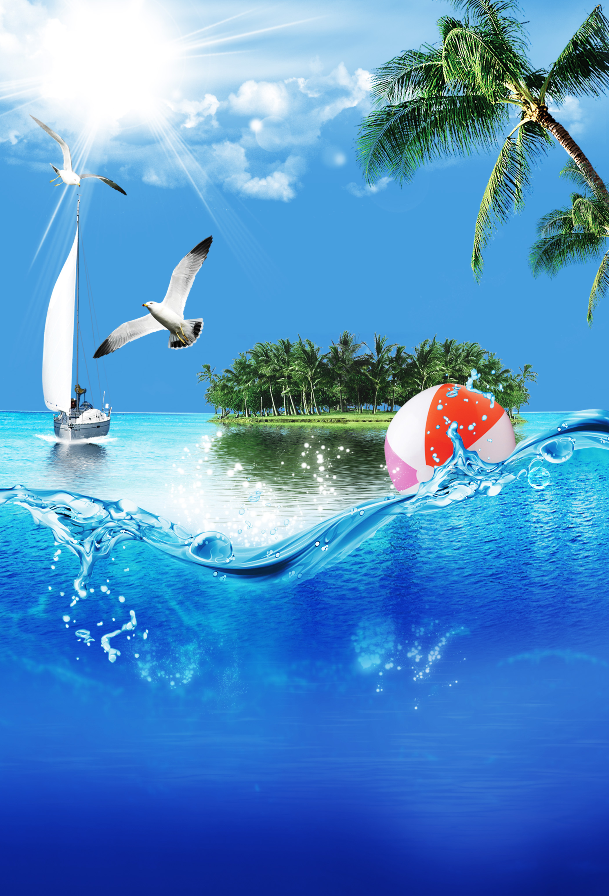 great seaside party poster  seabirds  sea  island background image for free download