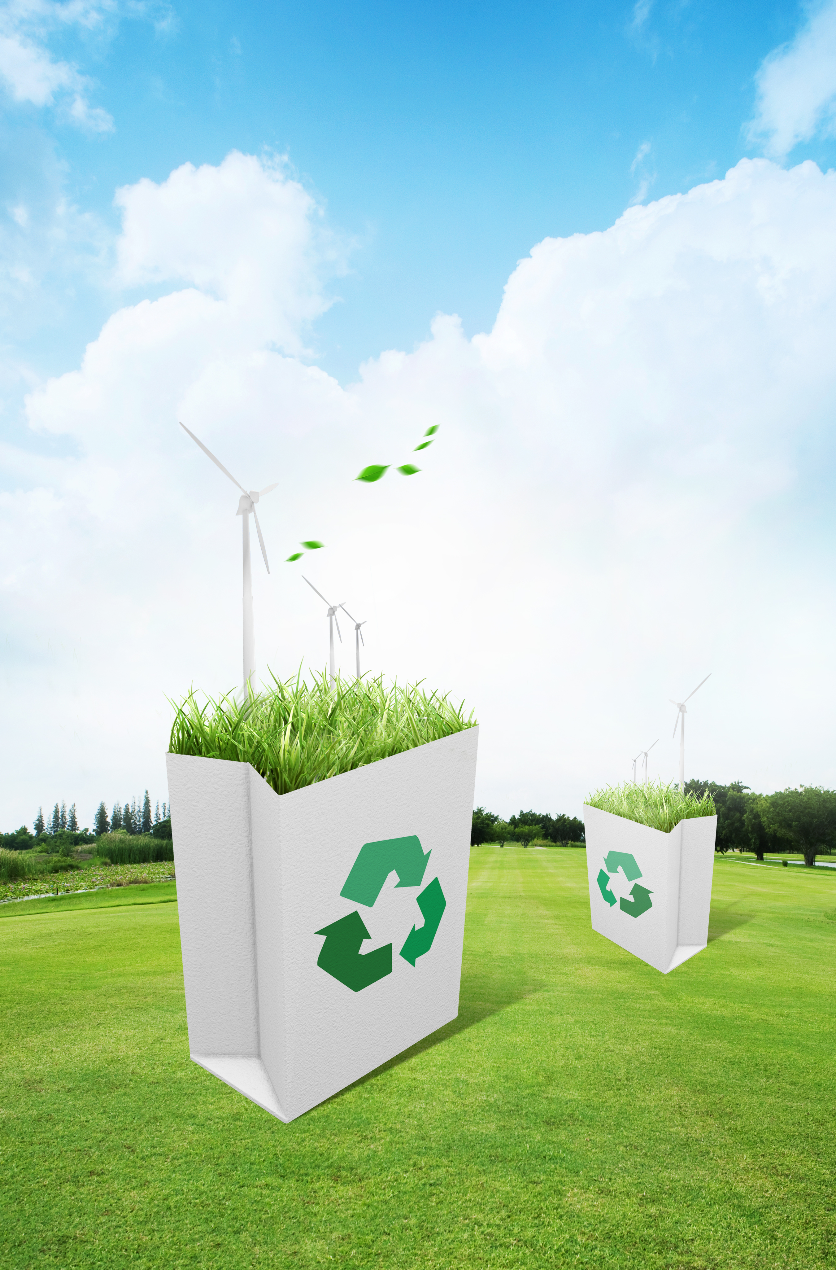 le ciel bleu de plantes de recyclage de d u00e9chets de