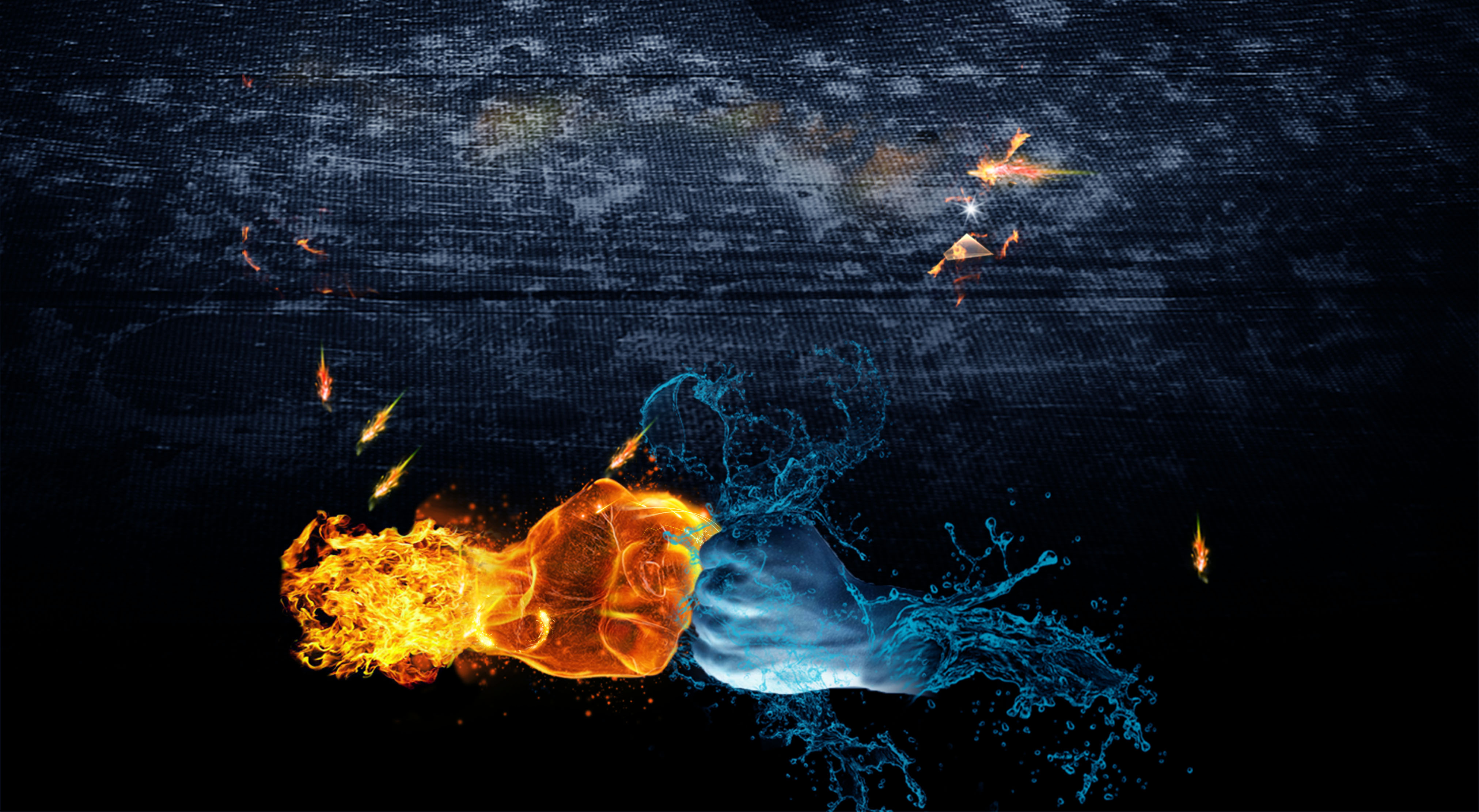 fist fire and water background  fashion  fist  flame