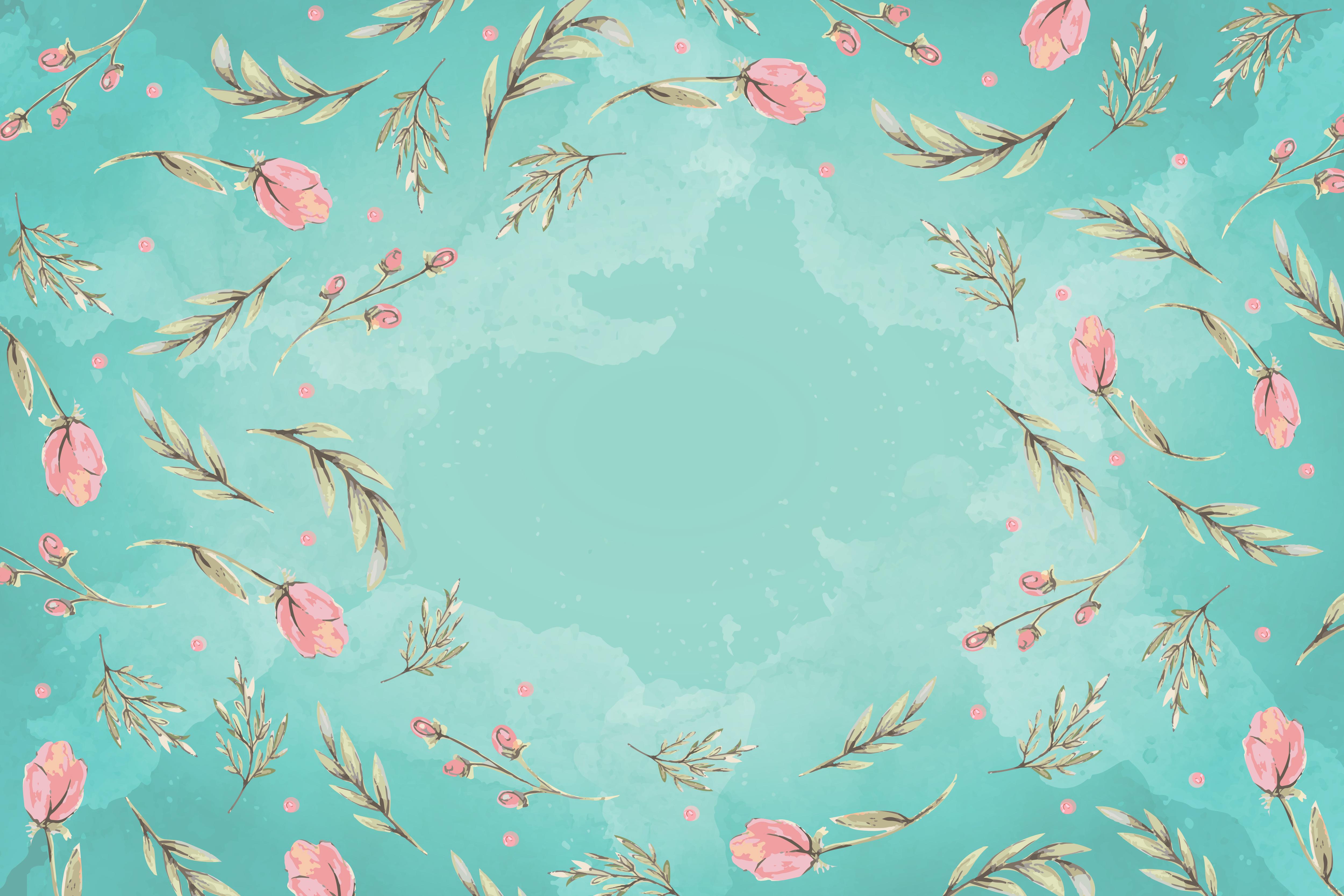 elegant fresh green underlay painted floral background