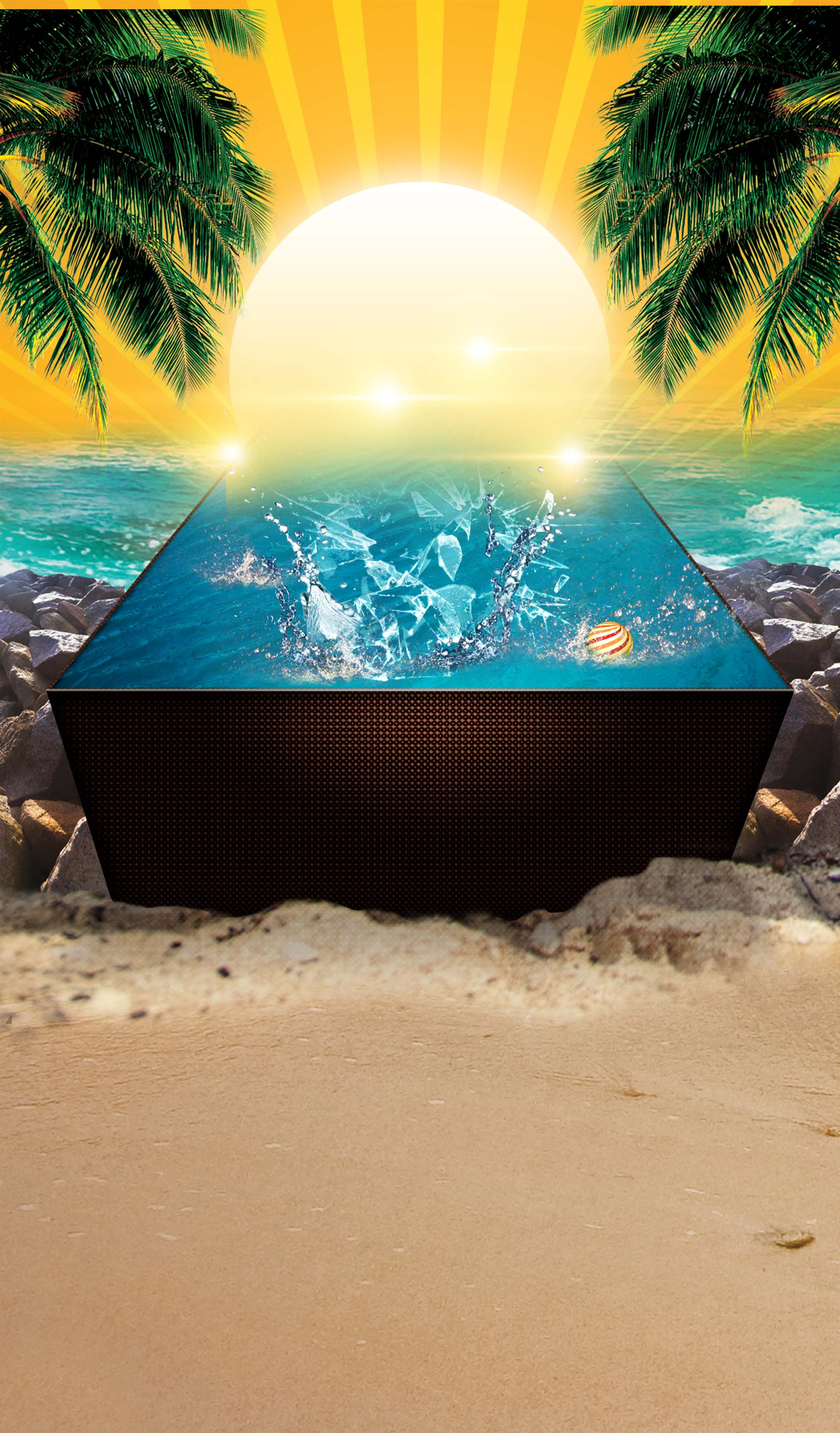 dream beach pool party poster  poster  sun  ocean