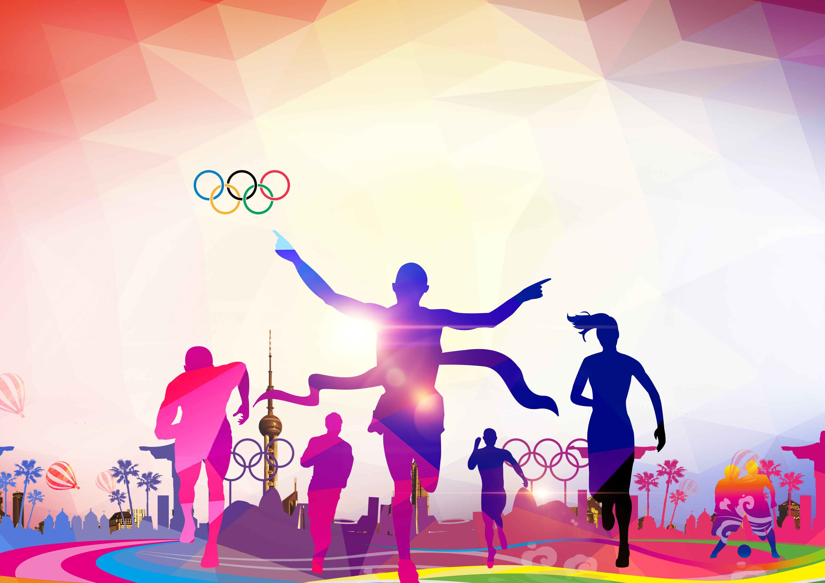Athletic Backgrounds: People Running Sports Background, Crowd, Run, Movement