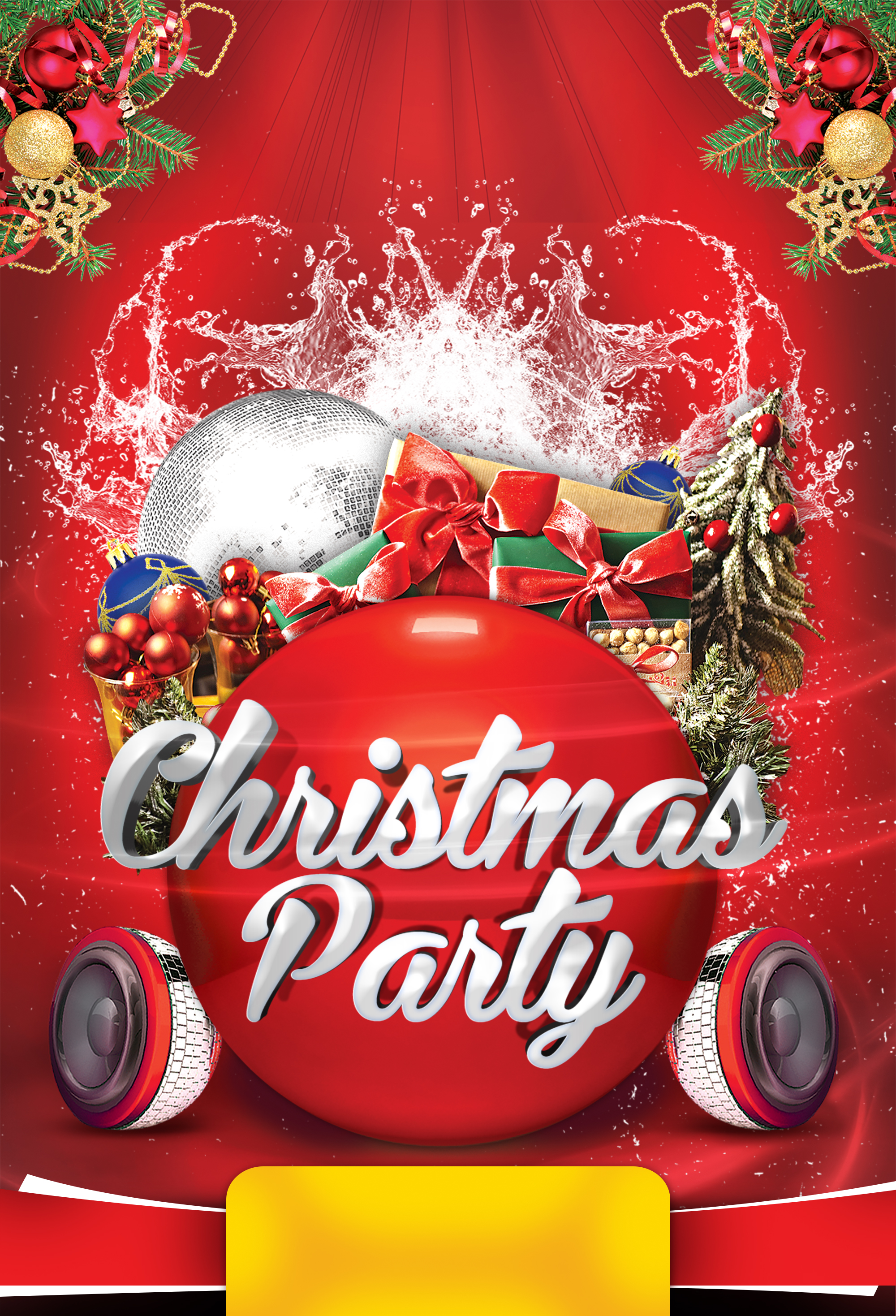 christmas party poster background  christmas  tree  red